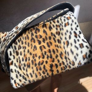 Velvet Cheetah print shoulder bag